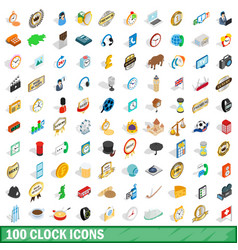 100 clock icons set isometric 3d style vector image