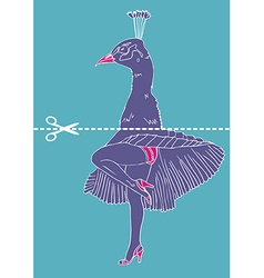 Marilyn Monroe legs with peacock head vector image