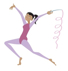 Gymnast female with ribbon vector