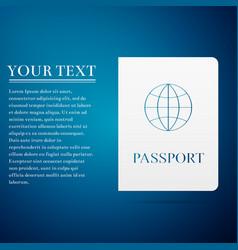 Passport flat icon on blue background vector