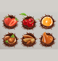 fruit berries and nuts realistic chocolate vector image