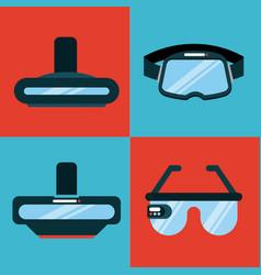 Icons set virtual reality flat vector
