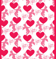 Seamless pattern with silhouettes of angel and vector