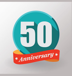 50 anniversary label with ribbon vector