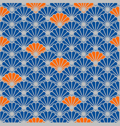 Japanese fan seamless pattern in blue and vector