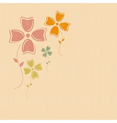 Abstract retro flowers on paper textile background vector