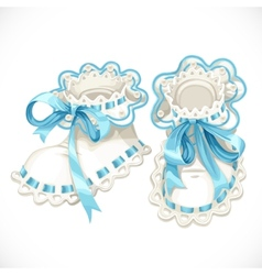 Blue booties for newborn vector