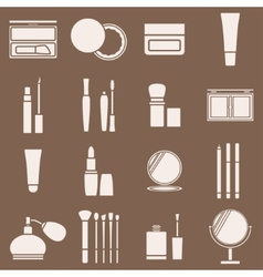 Icons cosmetics in a light beige silhouette vector