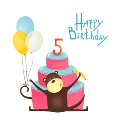 Monkey congratulating five years old with happy vector