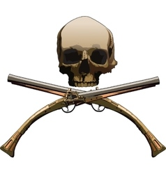 Jolly roger with pistols vector