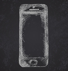 Handdrawn sketch of mobile phone front on vector