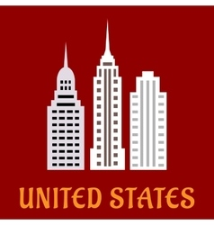 High american skyscrapers flat icons vector