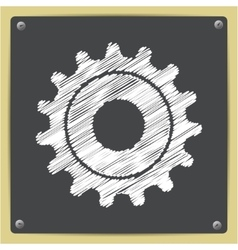 Cogwheel icon epschalk drawn in sketch vector