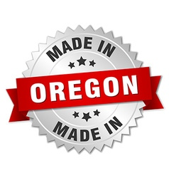 Made in oregon silver badge with red ribbon vector