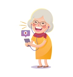 Happy old woman watch movie from smart phone vector
