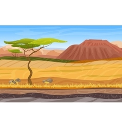 Cartoon african panorama savanna landscape with vector