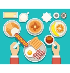 Breakfast concept with fresh food and vector