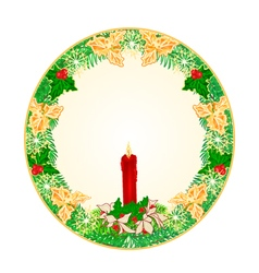 Button circle Christmas Spruce vector image