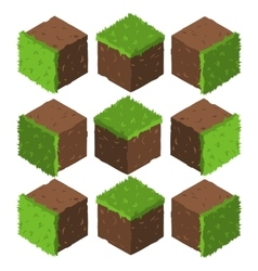 Cartoon isometric grass and rock stone game brick vector