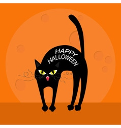 Cat arch back happy halloween greeting card yellow vector