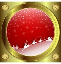 Christmas red design with gold frame vector image vector image