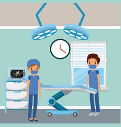 doctors in hospital room surgery bed lights window vector image