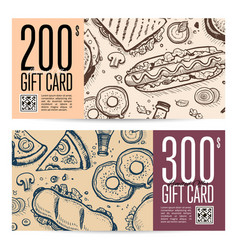Fast food restaurant gift card set in retro style vector