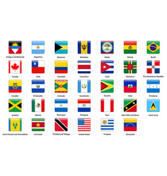 Flags of all countries of the american continents vector