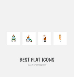flat icon cripple set of handicapped man disabled vector image vector image