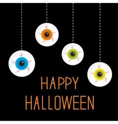 Four hanging eyeballs happy halloween card vector