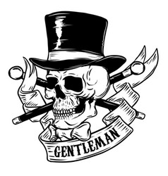 gentleman skull in vintage hat design element for vector image vector image