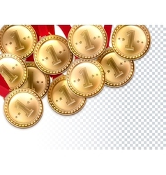 Golden medals first winner background poster vector