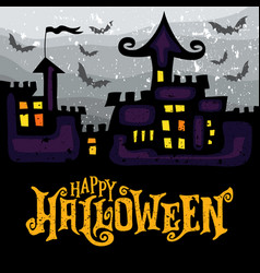 Greeting card with spooky haunted halloween vector