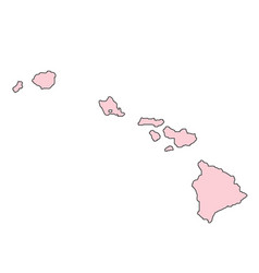 Hawaii map isolated on white background silhouette vector