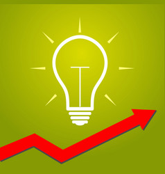 Light bulb with arrow concept for start ups vector