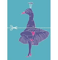 Marilyn monroe legs with peacock head vector