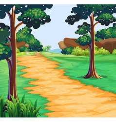 Nature scene with tree along the trail vector