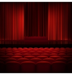 Open theater red curtains EPS 10 vector image