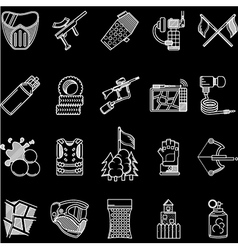 Paintball white line icons collection vector image