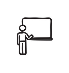Professor pointing at blackboard sketch icon vector