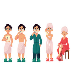 Set of people shaving removing hair at home vector