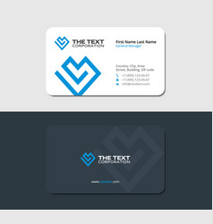 Sleek and blue business card for cardiologist vector