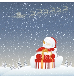 Snowman on Christmas eve vector image vector image