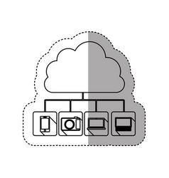 Sticker contour cloud storage in cumulus shape vector