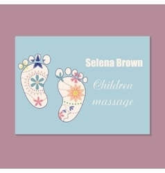Vintage business card for choldren massage vector