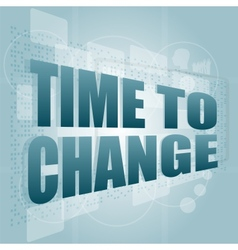 words time to change on digital screen time vector image vector image