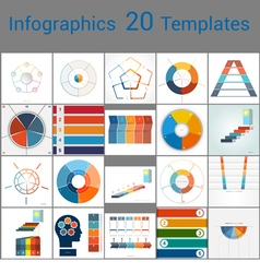 Infographics 20 templates text area 53 positions vector