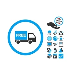 Free delivery flat icon with bonus vector