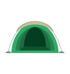 Dome green tent hiking forest camping vector