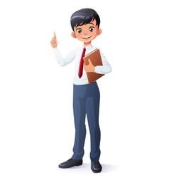 Smart young asian school boy index finger vector